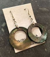 Earrings - Black Mother of Pearl Hollow (creamy browns) - WERE £18 ME02-H